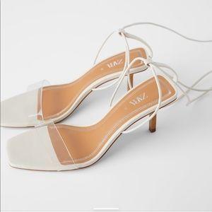 ZARA • Sandals wood and vinyl strappy heels